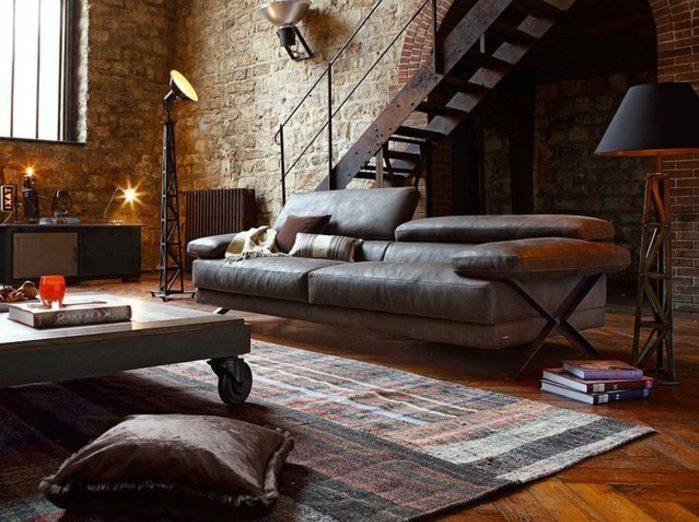Decoración industrial vintage oscura en salón