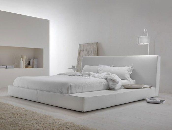 Dormitorio blanco moderno y minimalista