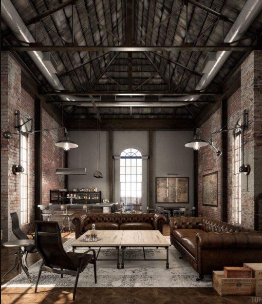 Salón industrial vintage con sofás Chesterfield