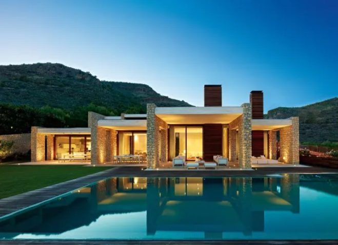 Casas de piedras modernas con fachada abierta