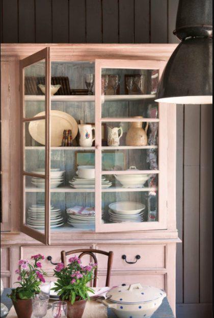 Alacenas de cocina vintage en rosa