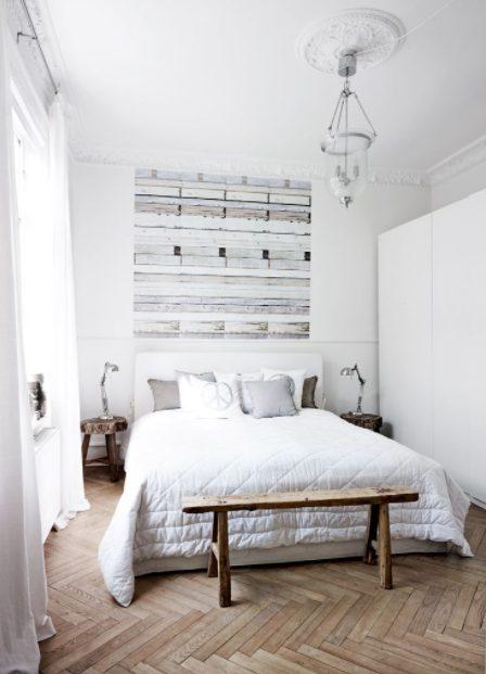 Dormitorios blancos pequeños con decoración moderna