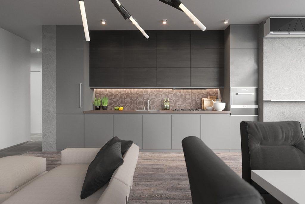 Brillante cocina minimalista en gris y colores tierra