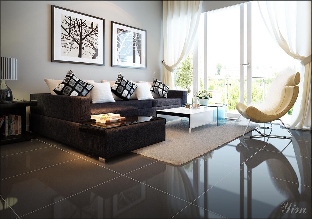 Brillante salón con un sofá oscuro