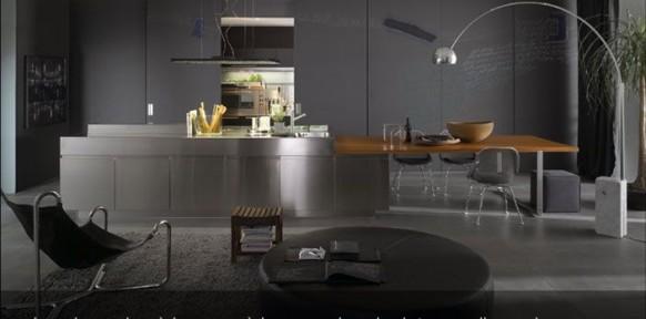 Cocina con paredes de acero inoxidable en negro