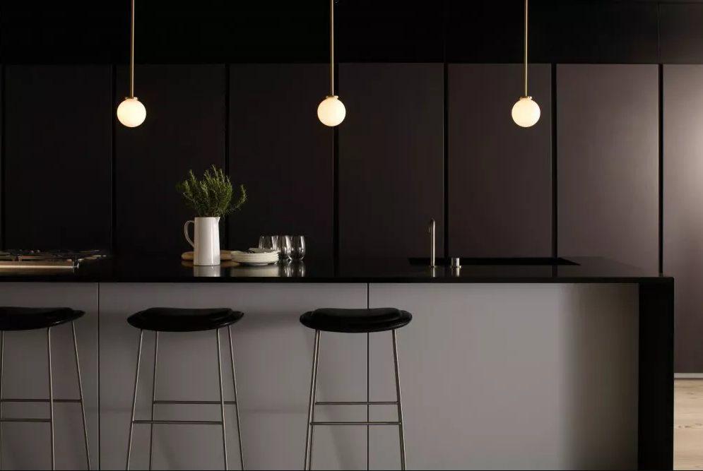 Cocina con paredes de paneles negros