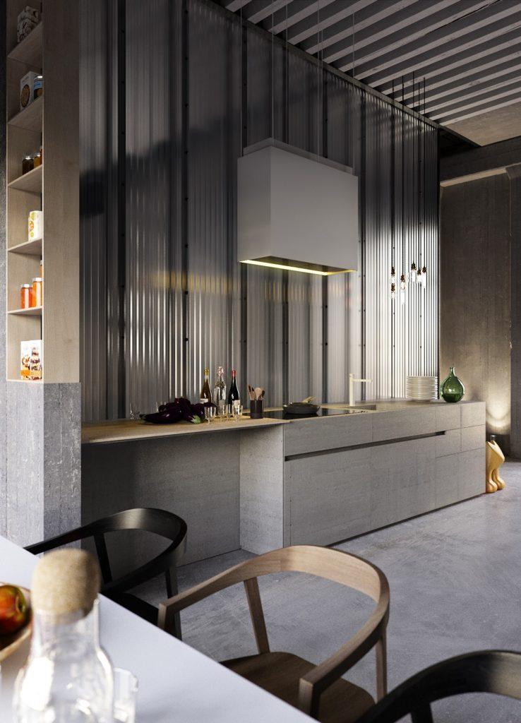 Cocina gris minimalista y compacta