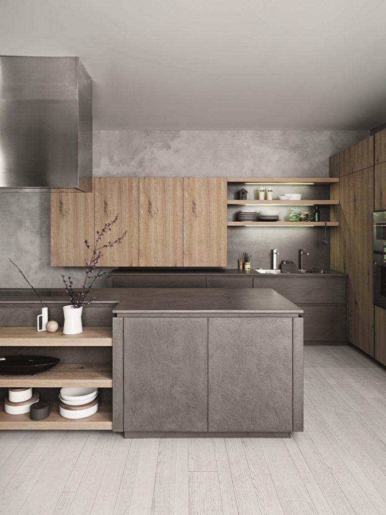 Cocina minimalista gris con tonos café