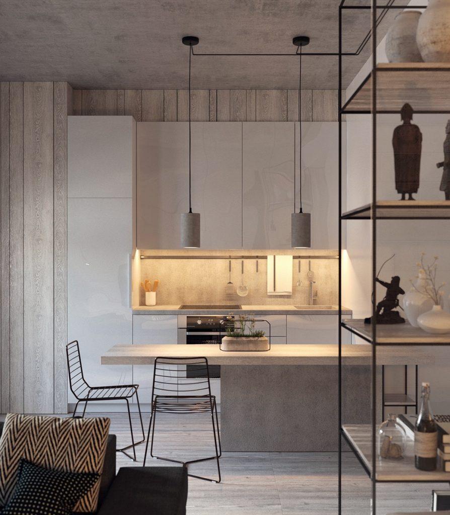 Cocina minimalista gris y romántica