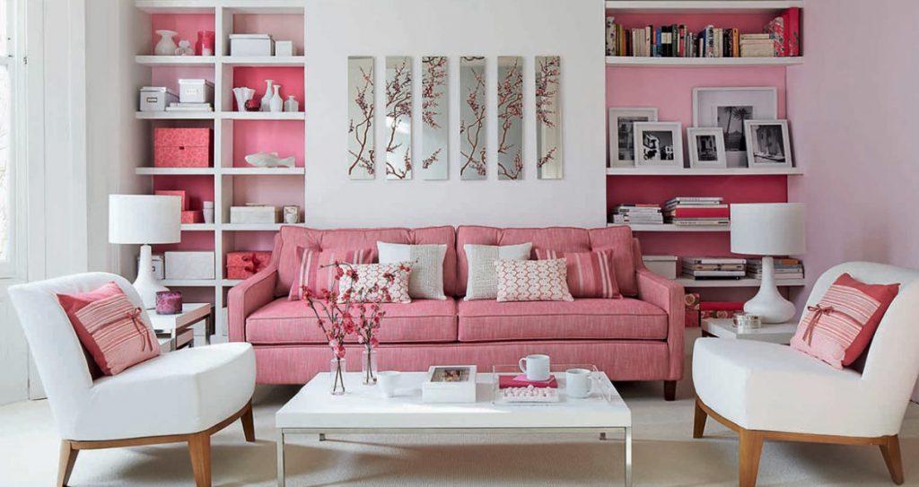 Da un toque femenino al salón con un rosa pastel