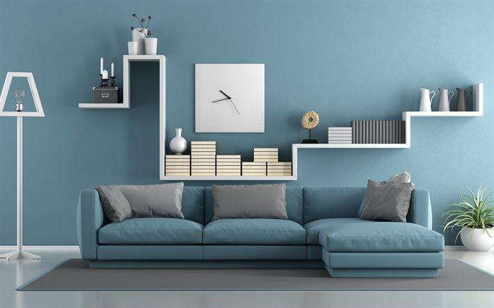 El azul y el blanco siempre dan luminosidad a una sala de estar