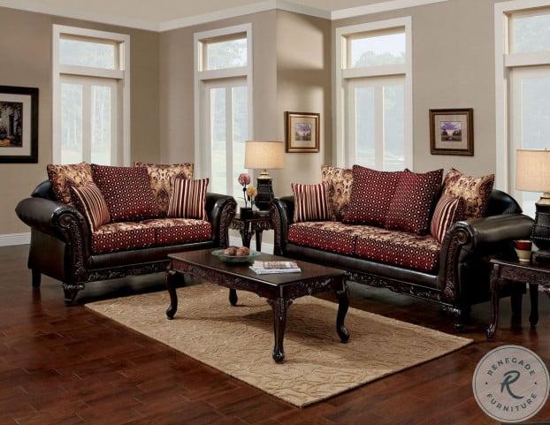 Elegante sala de estar con sofás marrones y granates