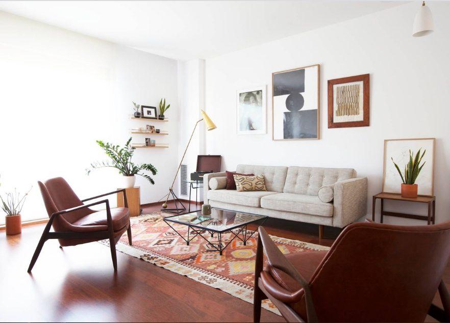 Salón rectangular moderno muy cordial