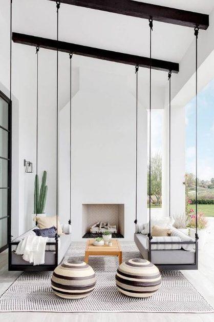 Terraza minimalista pequeña y Relajante
