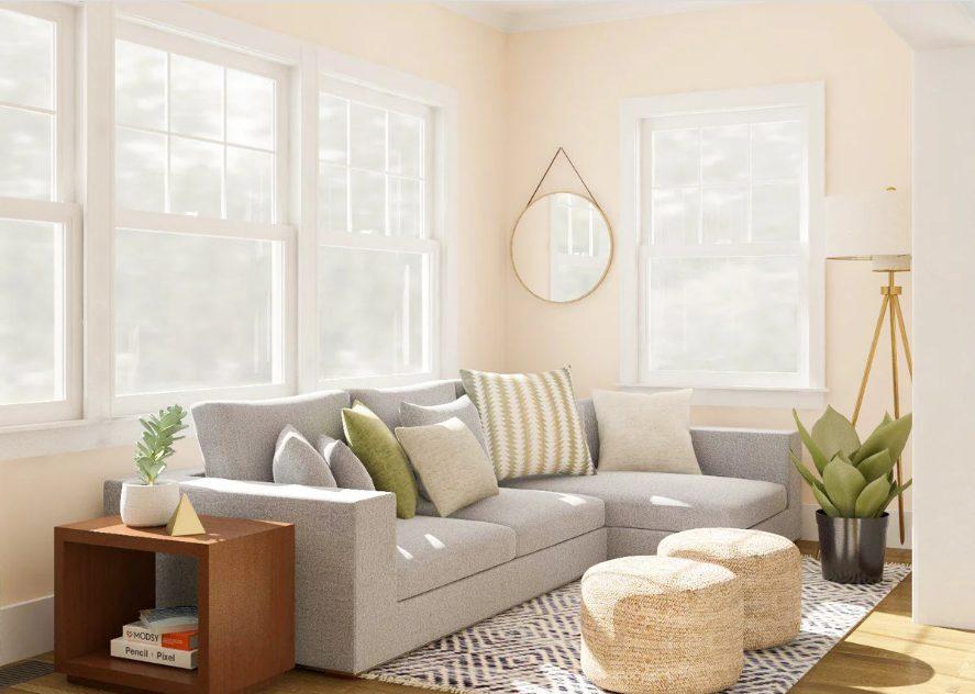 Salón rectangular moderno delicadamente iluminado