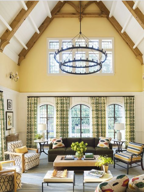 Amarillo para salones con muebles marrones