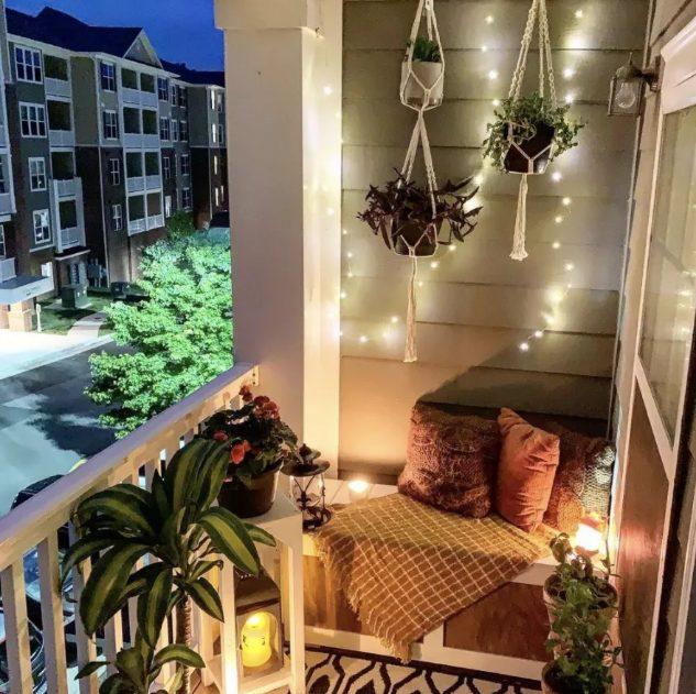 Balcones con luces de navidad para relajarse