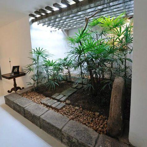 Patio interno pequeño como un jardín