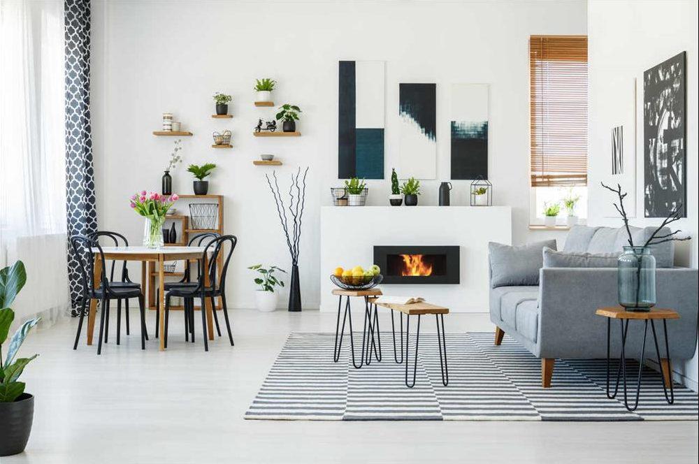 Sala y comedor en transición de colores