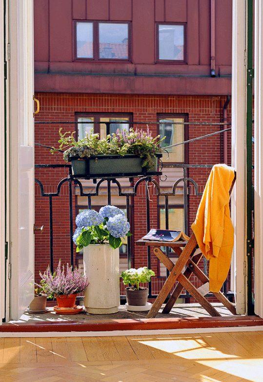 Balcón con plantas pequeño