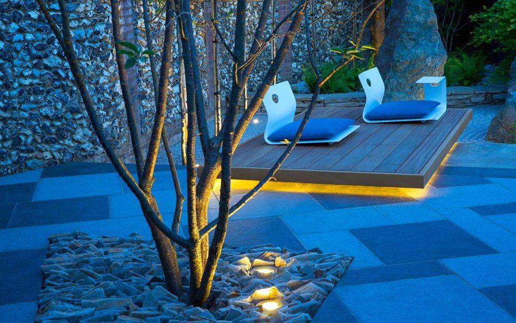 Jardín de cuarzo con luz tenue