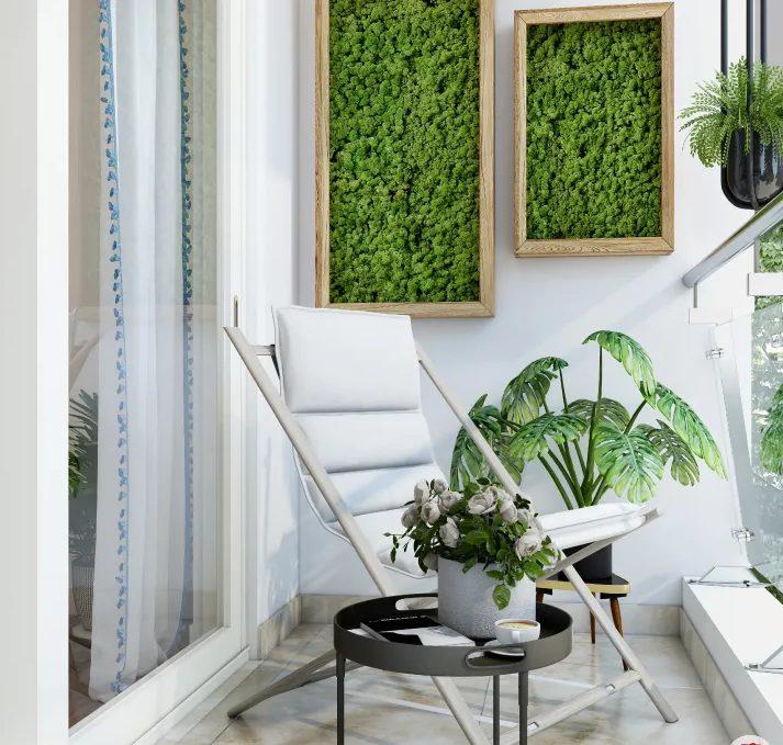 Balcón con plantas minimalista