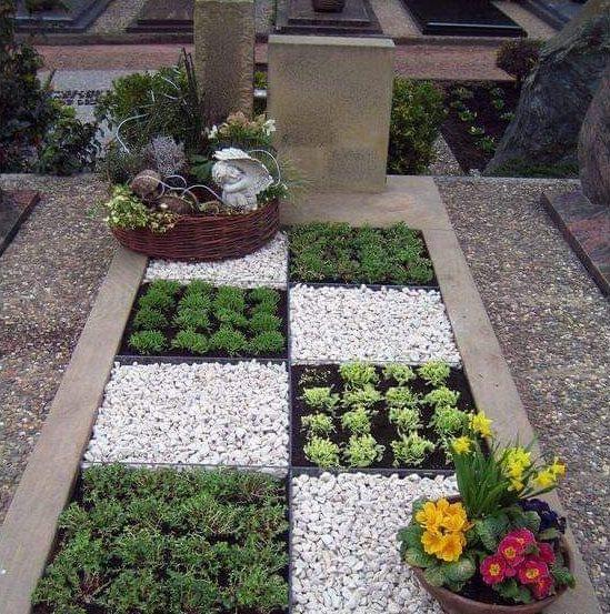 Jardín con cuadros de cuarzo