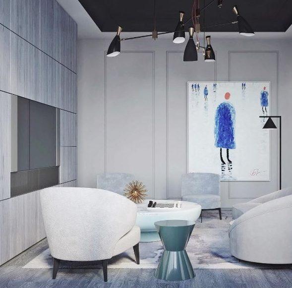 Salón nórdico industrial con pintura minimalista