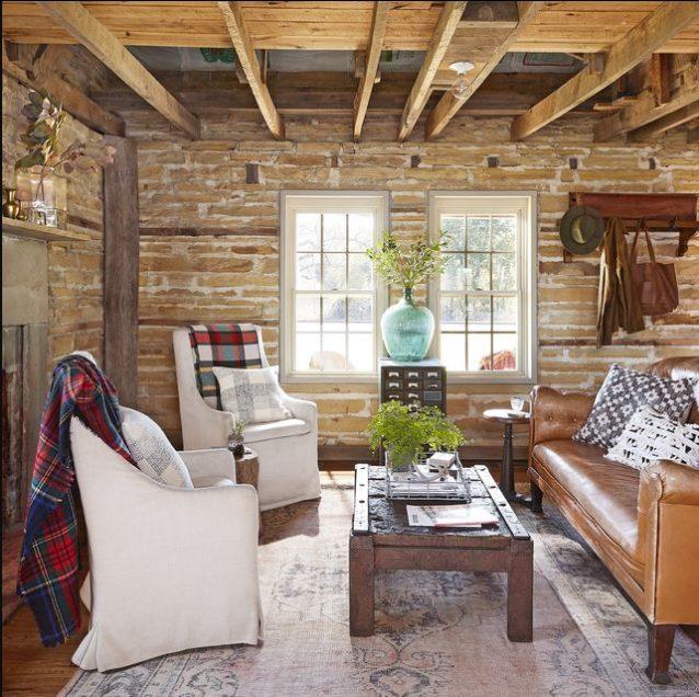 Sala pequeña, moderna y rústica con aire vintage