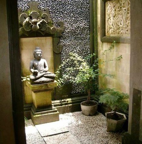 Patio interno con estilo de Retiro zen
