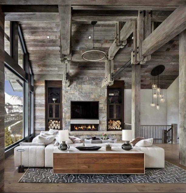 Sala abierta, rústica y moderna