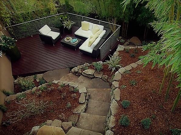 jardín ecléctico y rustica