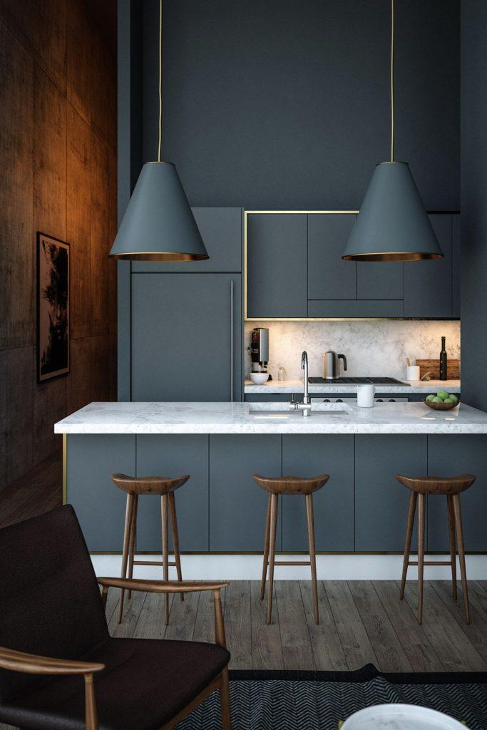 Lujosa pero minimalista cocina en blanco y gris azulado