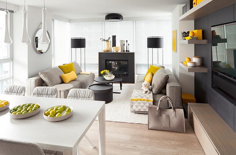 Moderno salón, blanco y gris con un toque amarillo