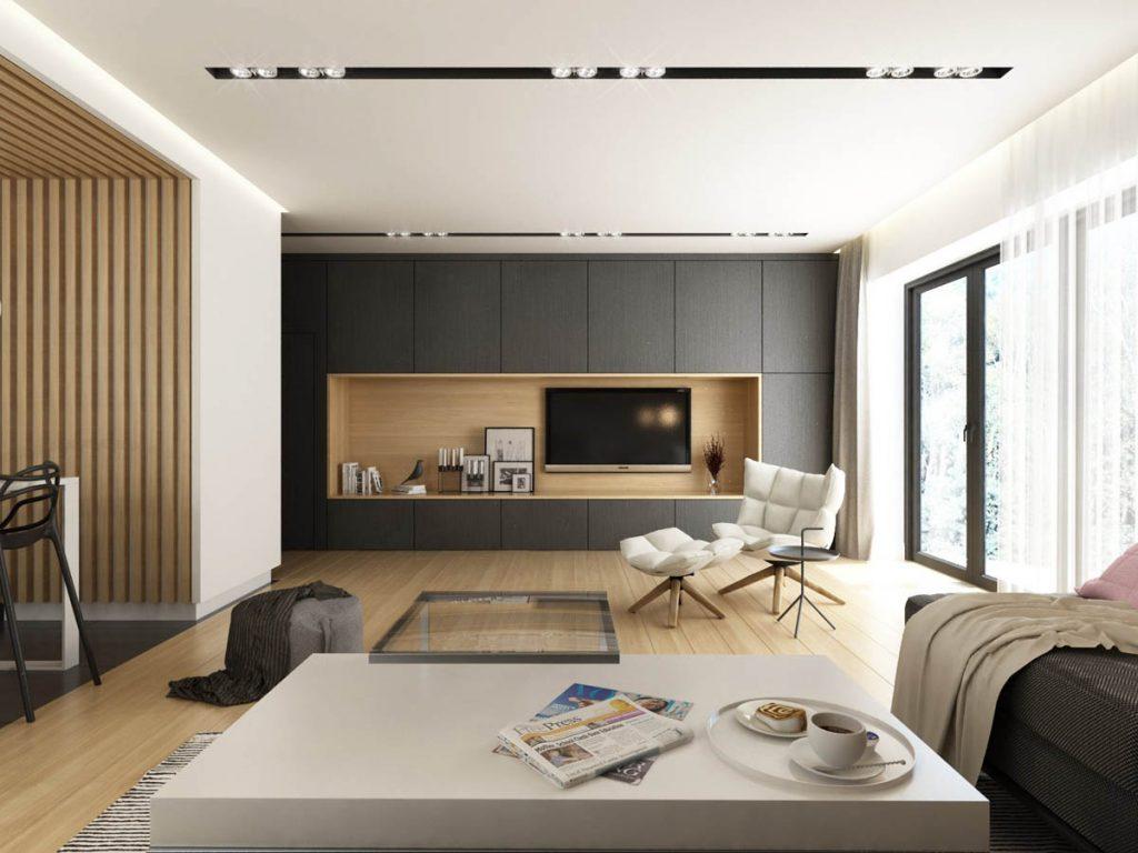 Salón blanco gris y con madera de líneas modernas