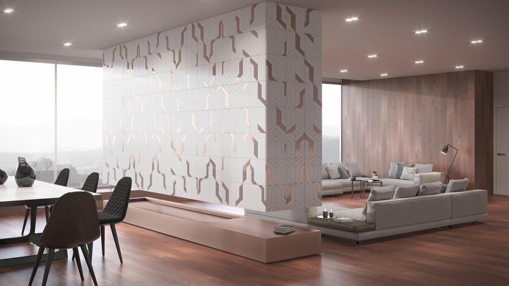 Salón con una pared con patrones increíblemente originales
