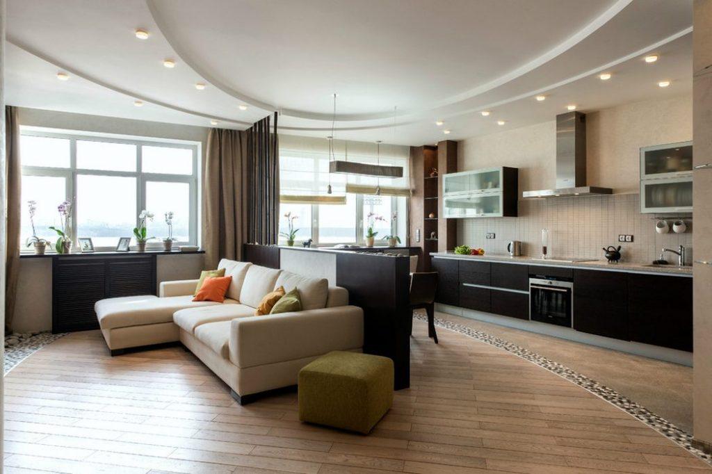 Salón de 30 metros con cocina de concepto abierto
