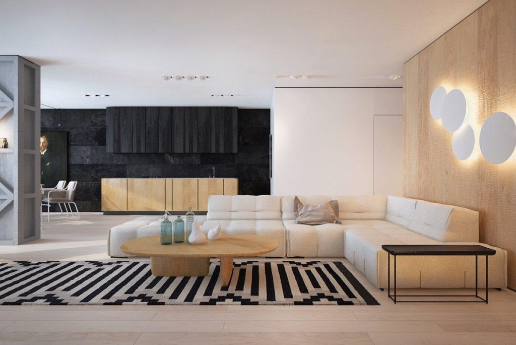 Salón elegante, blanco y negro con un toque de madera
