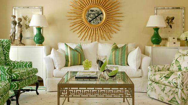 Salón en colores tierra y tonos de verde, la combinación perfecta