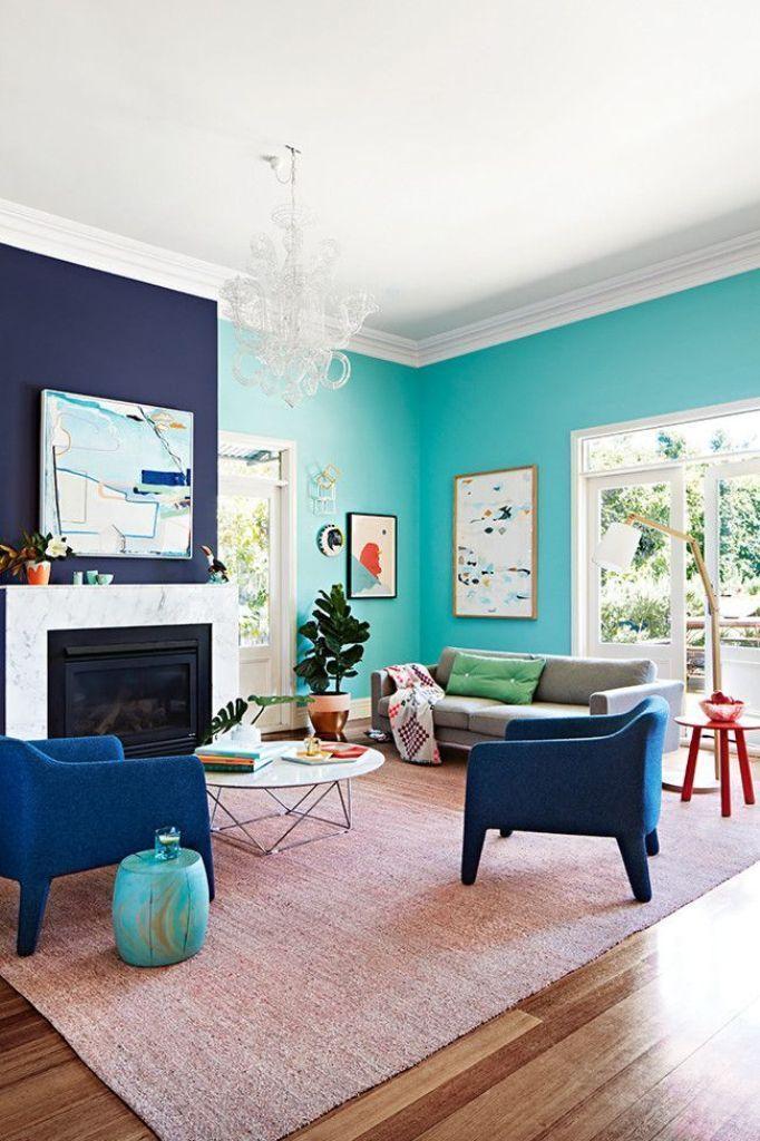 Salón en dos tonos de azul