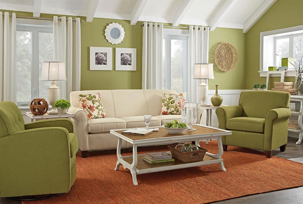 Salón en verde oliva clásico y sencillo