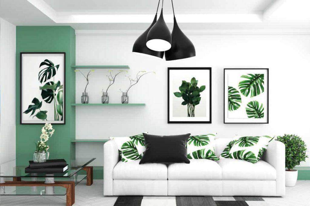 Salón en verde y blanco casi minimalista