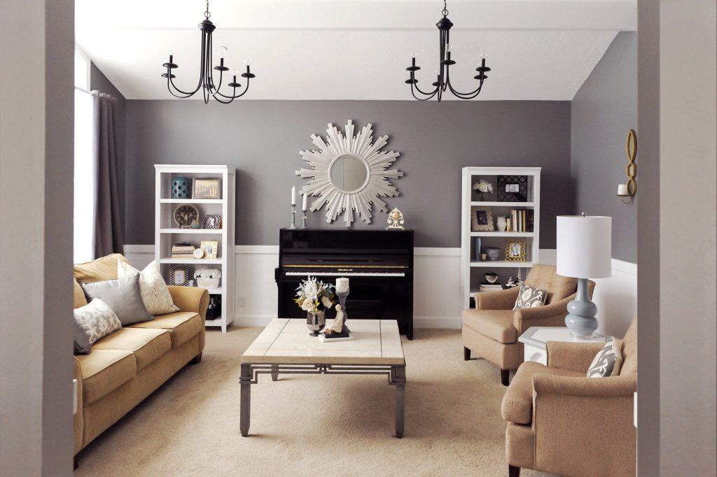 Salón pintado en gris y blanco