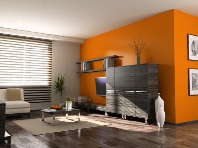 Salón pintado en gris y naranja
