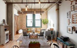 Salones con estilo industrial vintage