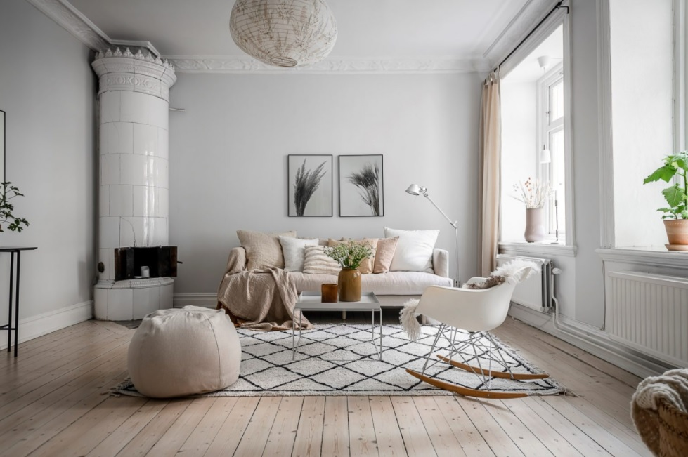 salón moderno y blanco con estilo escandinavo