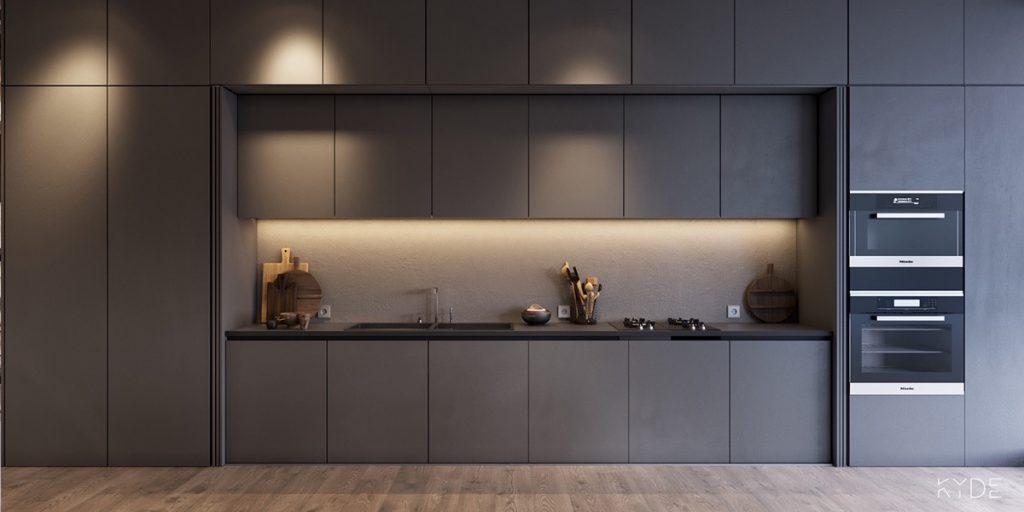 Sencilla y elegante cocina en gris oscuro