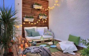 balcones con luces de navidad