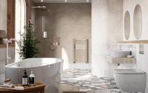 baño decorado de beige