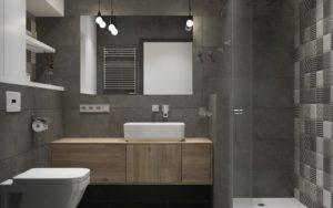 baños pequeños modernos grises